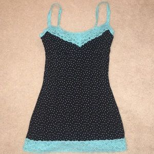 Black and blue polka dot tank top with lace